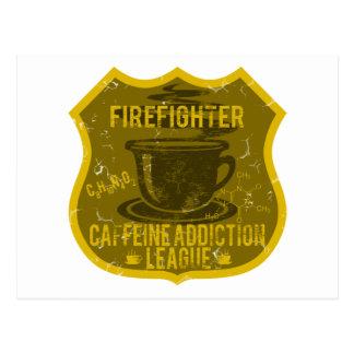 Firefighter Caffeine Addiction League Postcard