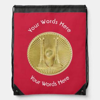 Firefighter Captain 2 Gold Bugle Medallion Cinch Bags