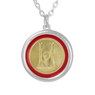 Firefighter Captain 2 Gold Bugle Medallion Round Pendant Necklace