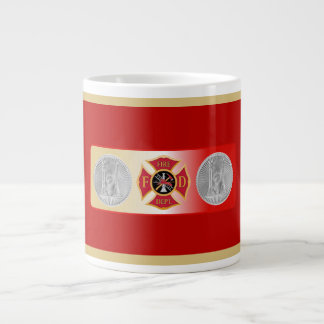 Firefighter Captain 2 Trumpet Shield Giant Coffee Mug