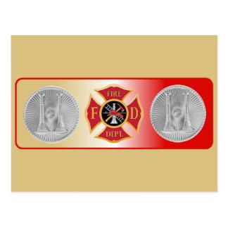 Firefighter Captain 2 Trumpet Shield Post Card