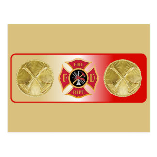 Firefighter Captain Crossed Trumpet Shield Post Cards
