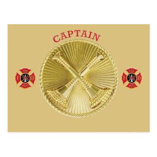 Firefighter Captain's Gold Bugle Medallion Post Card