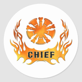 Firefighter Chiefs Flames Classic Round Sticker