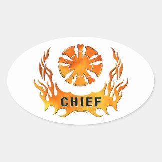 Firefighter Chiefs Flames Oval Sticker