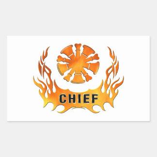 Firefighter Chiefs Flames Rectangular Sticker
