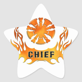 Firefighter Chiefs Flames Star Sticker