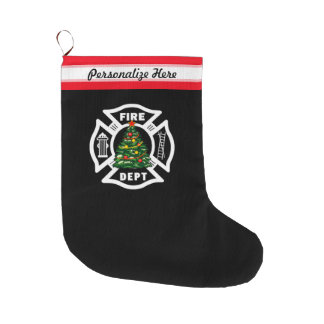 Firefighter Christmas Fire Dept Large Christmas Stocking