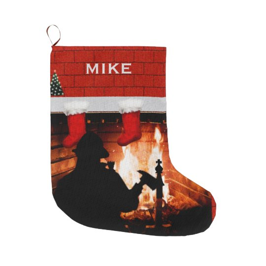 Firefighter Christmas Stocking.Firefighter Christmas Gift Large Christmas Stocking