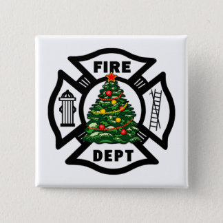 Firefighter Christmas Pinback Button