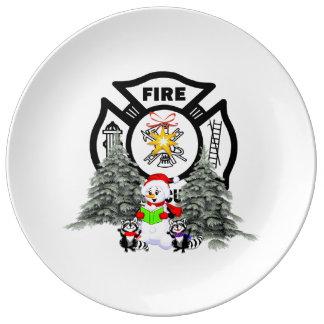 Firefighter Christmas Scene Porcelain Plates