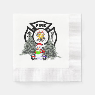Firefighter Christmas Scene Napkin