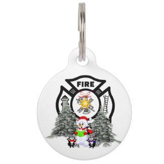 Firefighter Christmas Scene Pet Name Tag