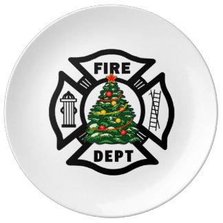 Firefighter Christmas Tree Porcelain Plate