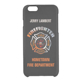 Firefighter Chrome and Black Name Template Clear iPhone 6/6S Case