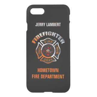 Firefighter Chrome and Black Name Template iPhone 7 Case