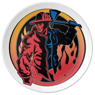 Firefighter Colors Porcelain Plate