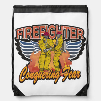 Firefighter Conquering Fear Drawstring Bag