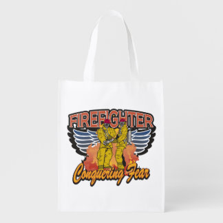 Firefighter Conquering Fear Grocery Bag