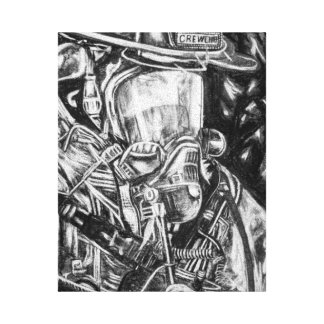 Firefighter - Courage - charcoal drawing Canvas Print