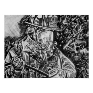 Firefighter - Courage - charcoal drawing Poster