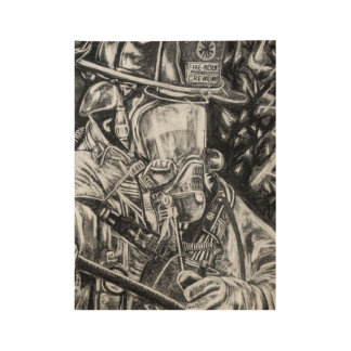 Firefighter - Courage - charcoal drawing Wood Poster