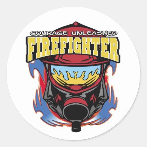 Firefighter Courage Round Sticker