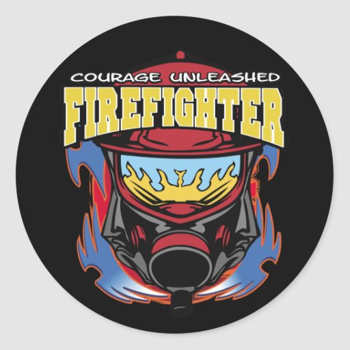 Firefighter Courage Round Stickers