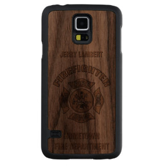 Firefighter Custom Template Carved® Walnut Galaxy S5 Slim Case