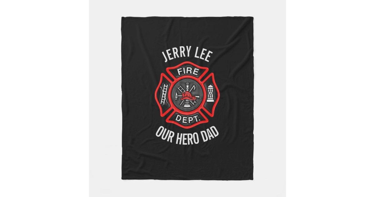 Firefighter Custom Text Name Personalized Fleece Blanket