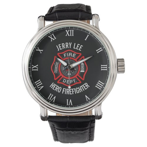 Firefighter Custom Text Name Personalized Wrist Watch