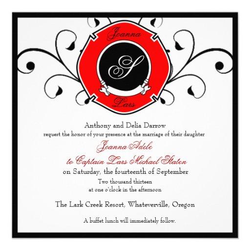Firefighter Custom Wedding Invitations