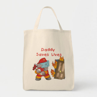Firefighter Daddy Saves Lives Tshirts and Gifts Grocery Tote Bag