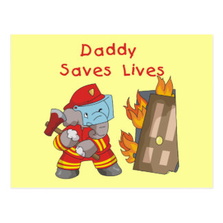 Firefighter Daddy Saves Lives Tshirts and Gifts Postcard
