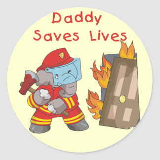 Firefighter Daddy Saves Lives Tshirts and Gifts Classic Round Sticker