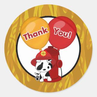 FIREFIGHTER dalmatian balloons Thank You sticker#4