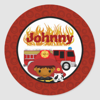 FIREFIGHTER dalmatian fire truck FIRE name #2 03B Classic Round Sticker