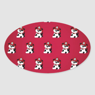 Firefighter Dalmations Oval Stickers