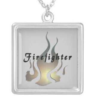 Firefighter Decal Square Pendant Necklace