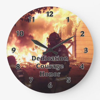 Firefighter Dedication Courage Honor Large Clock