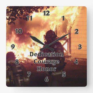 Firefighter Dedication Courage Honor Square Wall Clock