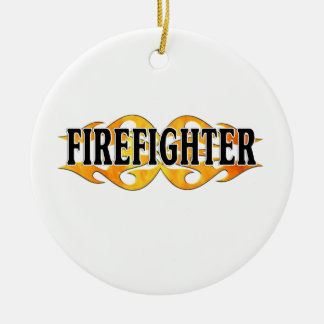 Firefighter Double Flames Christmas Ornament