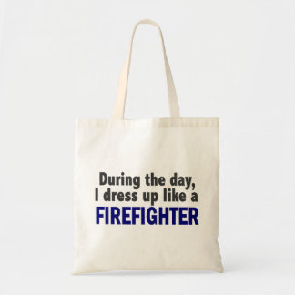 Firefighter During The Day Canvas Bag