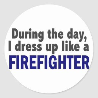 Firefighter During The Day Round Sticker