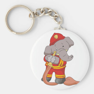 Firefighter Elephant Tshirts and Gifts Basic Round Button Keychain