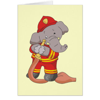 Firefighter Elephant Tshirts and Gifts Greeting Card