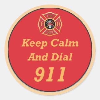 Firefighter Emergency 911 Round Sticker