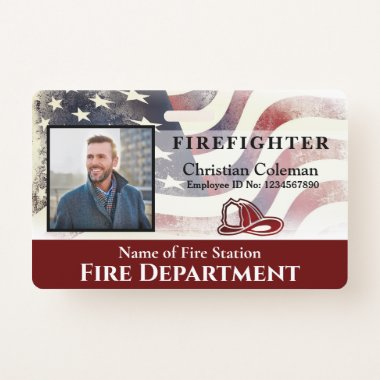 Firefighter Employee Photo Name ID Card Custom Badge