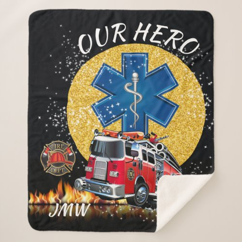 Firefighter EMS Wrapped in Love Sherpa Blanket