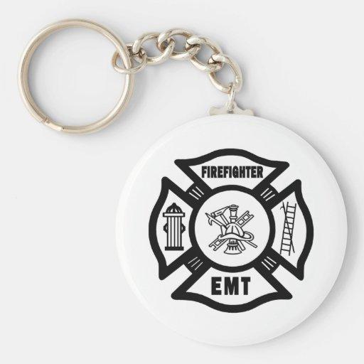 Firefighter EMT Basic Round Button Keychain